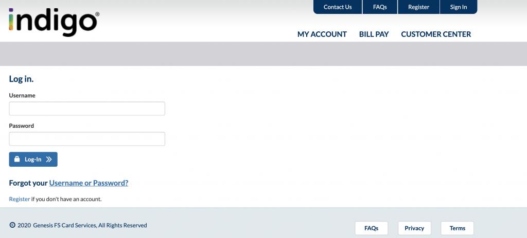 indigo credit card login issues