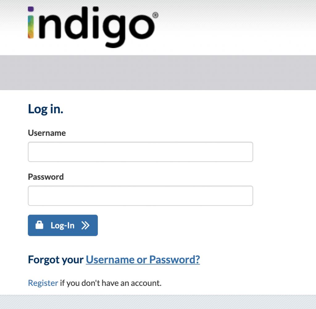 indigo credit card login page