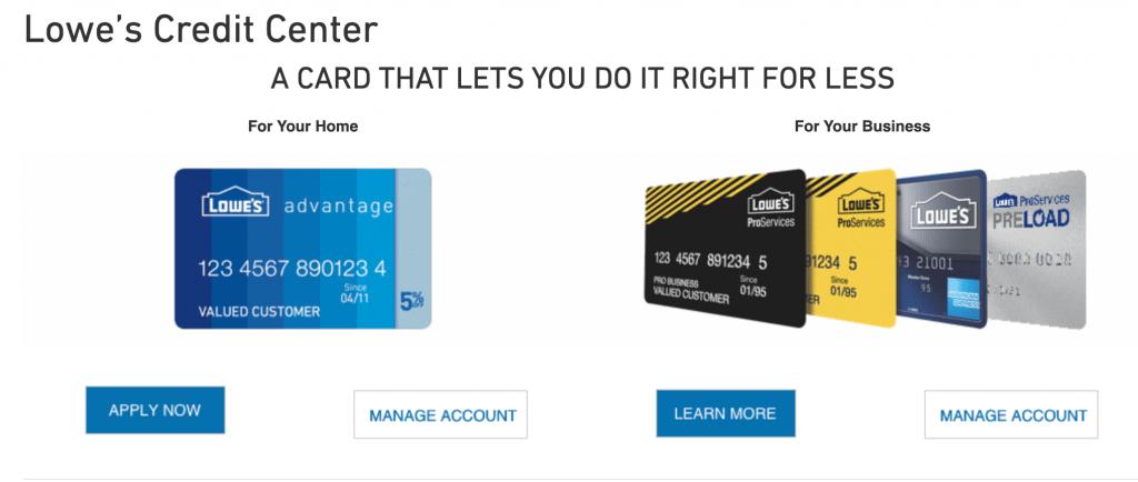lows credit card login