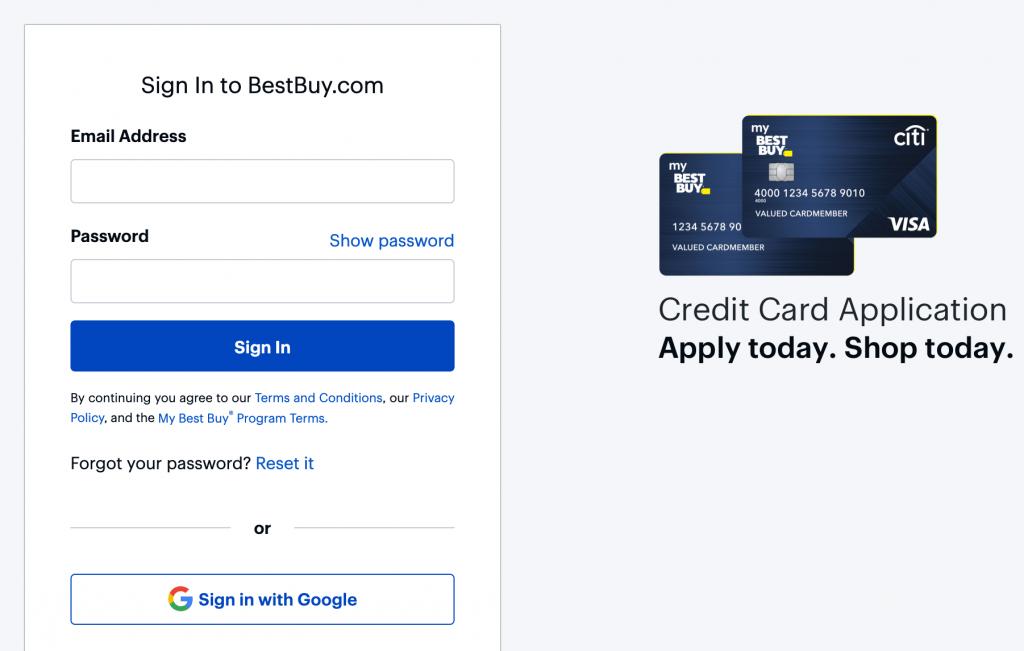 my best buy credit card login